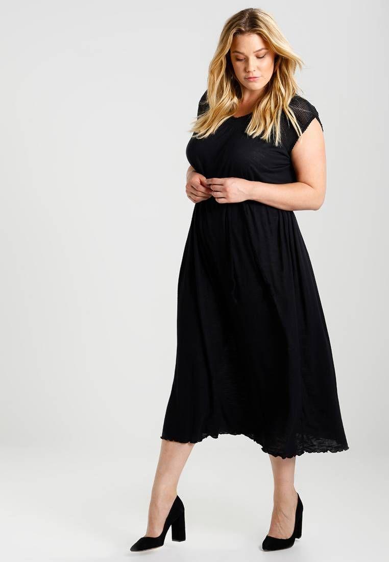 zizzi. jerseykleid - black. details:gürtel inklusive