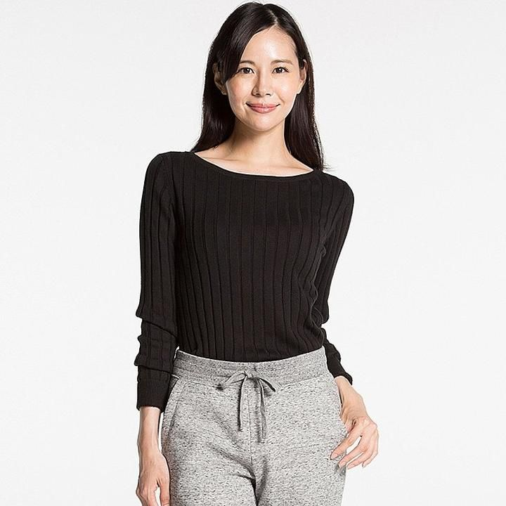 Women cotton cashmere wide ribbed sweater | Uniqlo, Sweaters and ...
