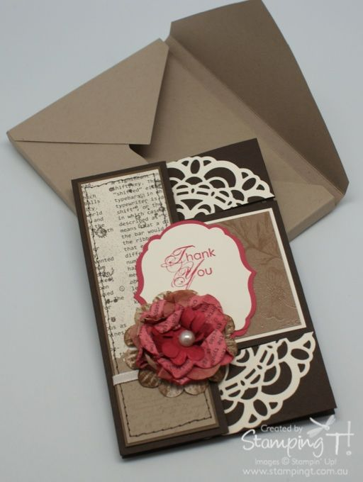 Stampin Up Stamping T  Tri Fold Shutter Card With Envelop