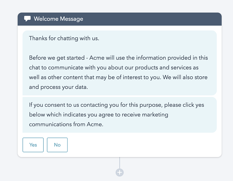 GDPR Consent Form and Chat Message Examples Marketing