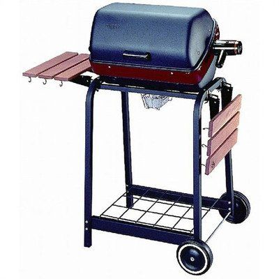 9000 Series Stand Up Electric Grill And Cart Side Accessories 2 Foldable  Wood Side Tables