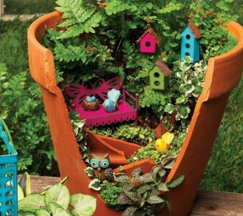 minigarten farn winzige bunte vogelhäuser Green Luxury\/ Garden - gartendeko selbst basteln