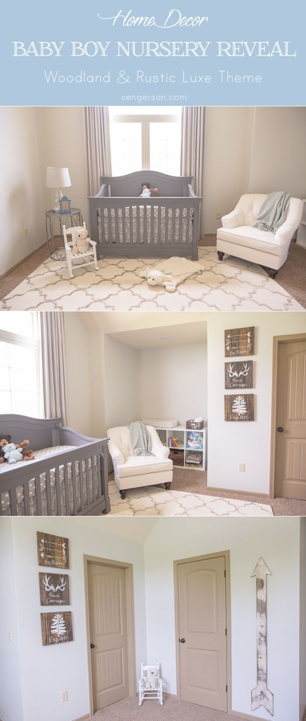 Awesome Baby Boy Nursery With Rustic Luxe Theme   Can Also Be A Gender Neutral  Theme As Well. Gorgeous Rustic Wall Art With Arrow Growth Chart. Find This  Pin And ...