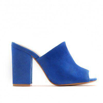 4da073aaddf4 Sian Block Heel Mules in Blue Faux Suede