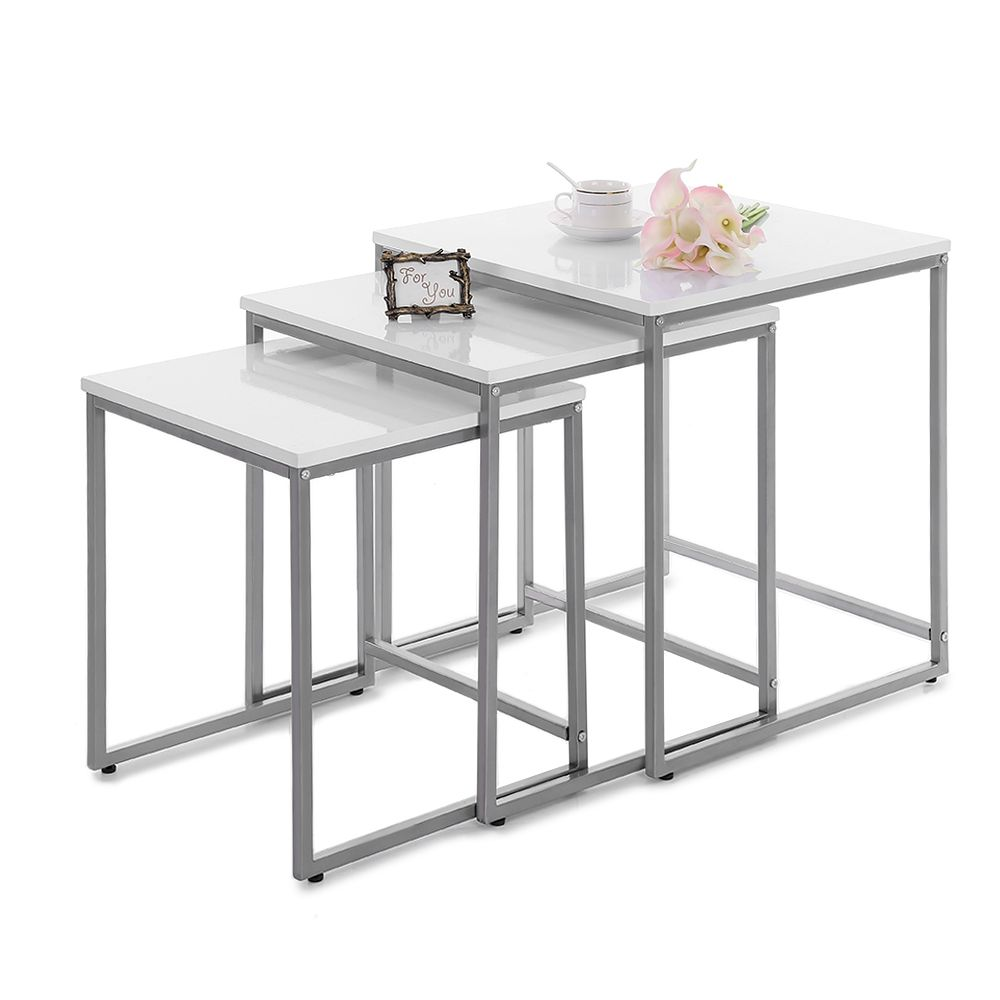 White Ikayaa 3pcs Metal Frame Nesting Side End Tables Set