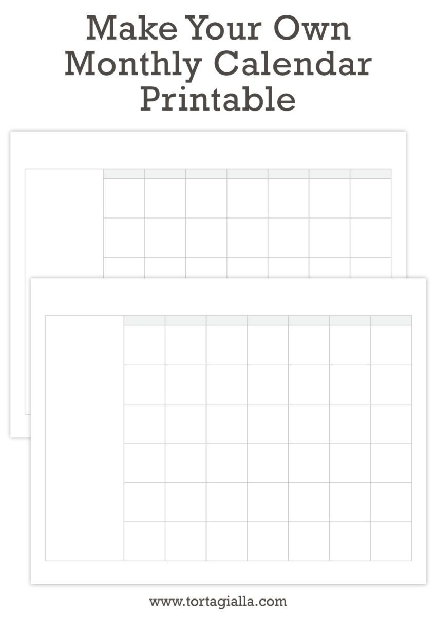 Make Your Own Monthly Calendar Freebie