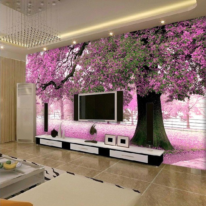 Furniture mural cherry tree living room background wall for Tree wallpaper bedroom