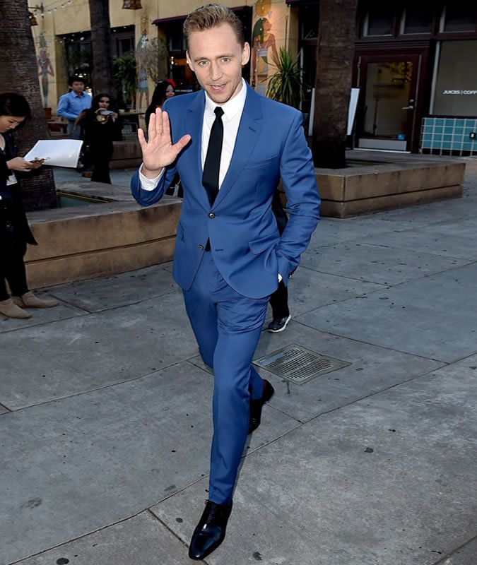 Tom Hiddleston wearing Blue Suit, White Dress Shirt, Black Leather ...
