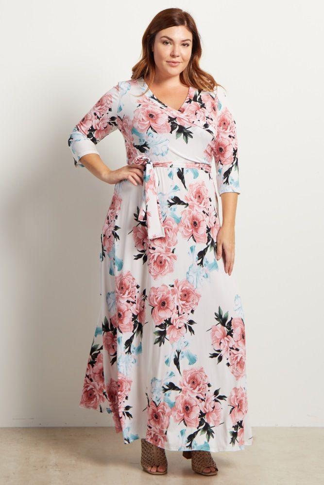 White Floral Sash Tie Plus Size Maxi Dress