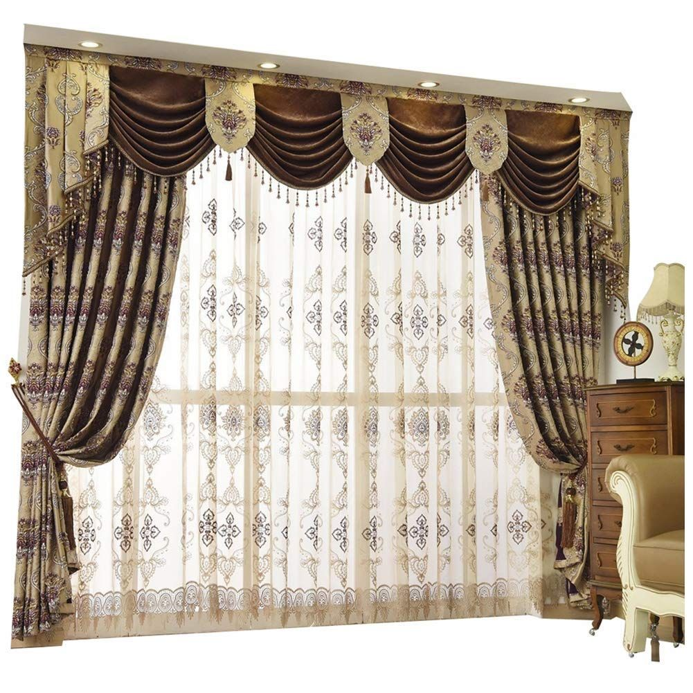 2 Queen S House Luxury Baroque Pattern Window Curtains Dr
