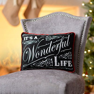CHRISTMAS Digital Collage Sheet Download Burlap Fabric Transfer Its a WONDERFUL LIFE Text Iron On Pillows Totes Tea Towels No 3298