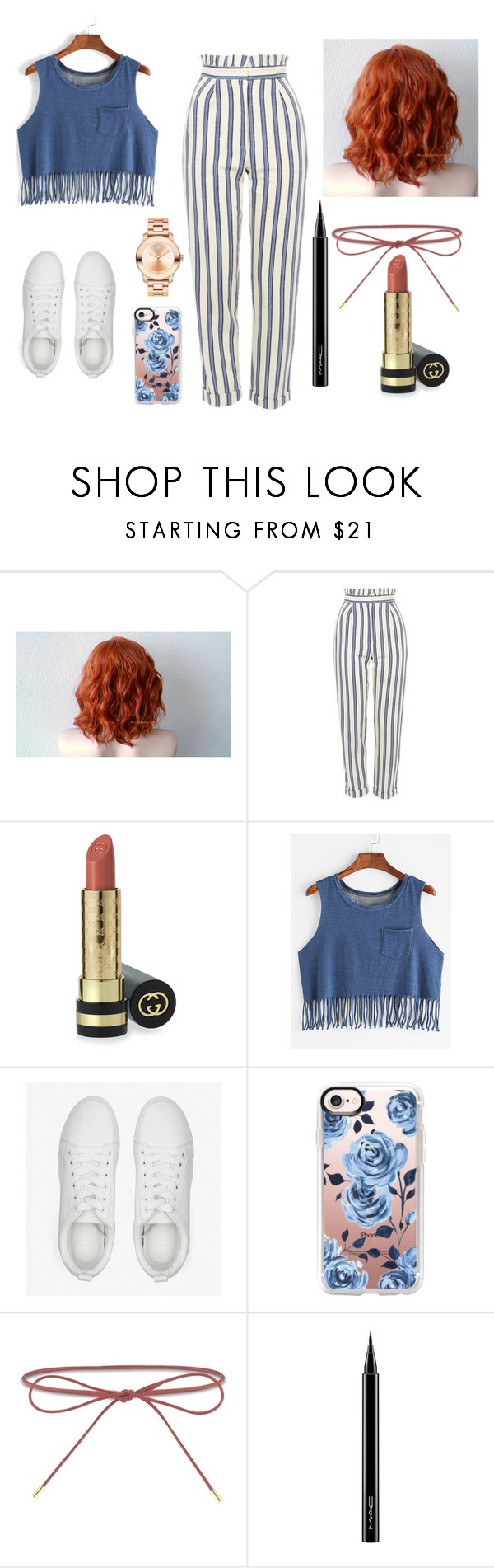 """""""Outfit31"""" by nadaabdelsalam on Polyvore featuring Topshop, Gucci, Casetify, Elizabeth and James, MAC Cosmetics and Movado"""