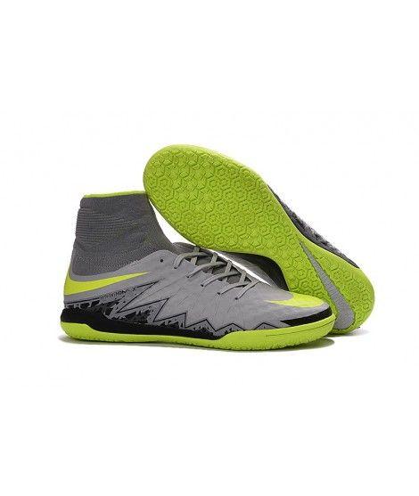 Nike HypervenomX Proximo IC Hohe Spitzen Fußballschuhe Grau Grün Schwarz 0ac830deac645