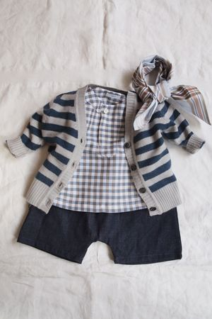 2106fddcd Baby short sleeve checkered shirt, cardigan & shorts by Makie ...
