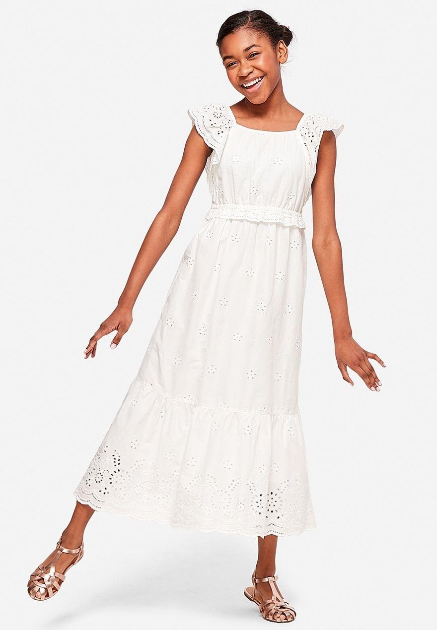 Eyelet Peasant Girls Maxi Dress Girls Fashion Tween Girls Maxi Dresses Song Dress [ 1270 x 880 Pixel ]