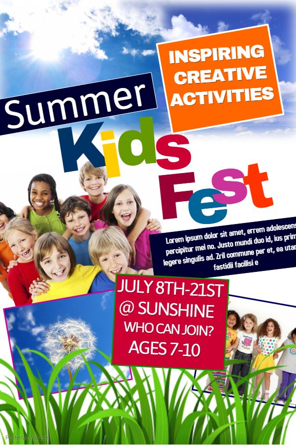 School Poster - Kids summer camp. Click on the image to customize on PosterMyWall. | School ...