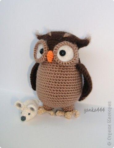 игрушка вязание вязание крючком сова генриетта бусины пряжа фото 2