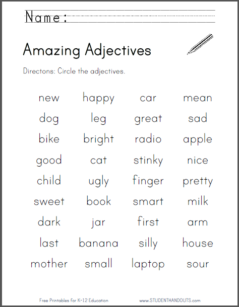 Amazing Adjectives Worksheet Free To Print Pdf File For Students