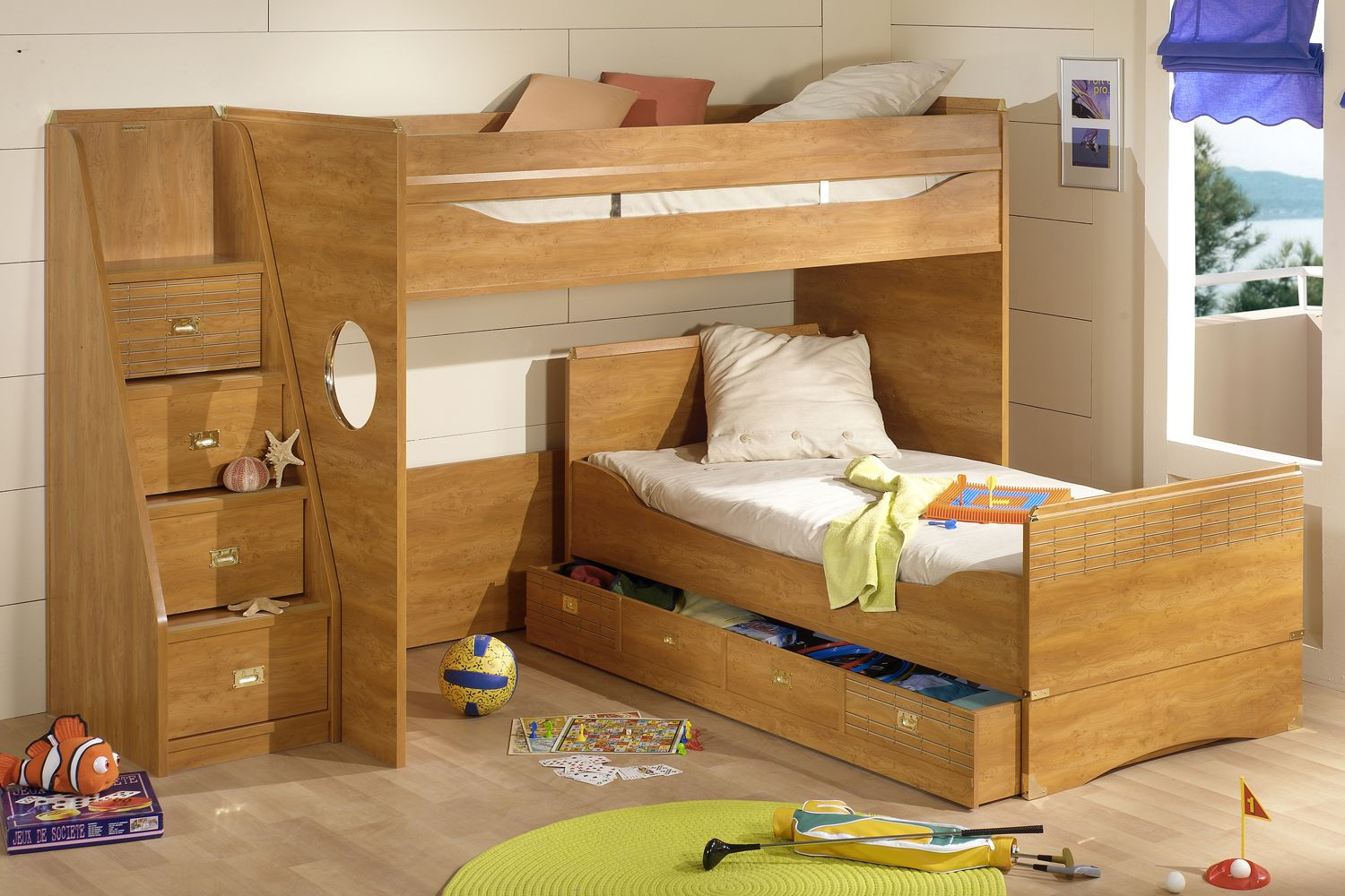 Loft bed with storage stairs  White L Shaped Bunk Beds for Modern Loft Great Wooedn Style I Shape