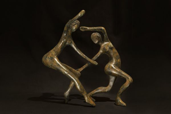 Bronze Stylized People sculpture by artist Mark Yale Harris titled: 'Dance Me to the End of Love'