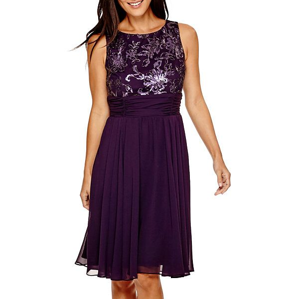 75d0081c2a Perceptions Sleeveless Ruched-Waist Fit-and-Flare Dress - JCPenney ...