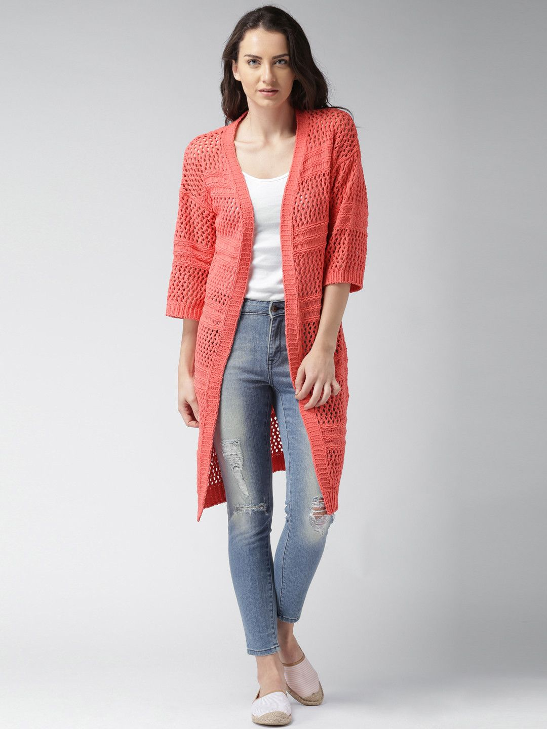 Mast & Harbour Coral Orange Solid Cardigan | Women's Coat & Jacket ...