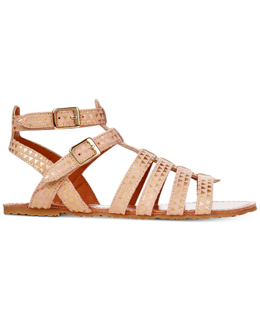 39b87d926c686 Playful metallic touches charm on these sweet strappy sandals, which secure  simply with stay-