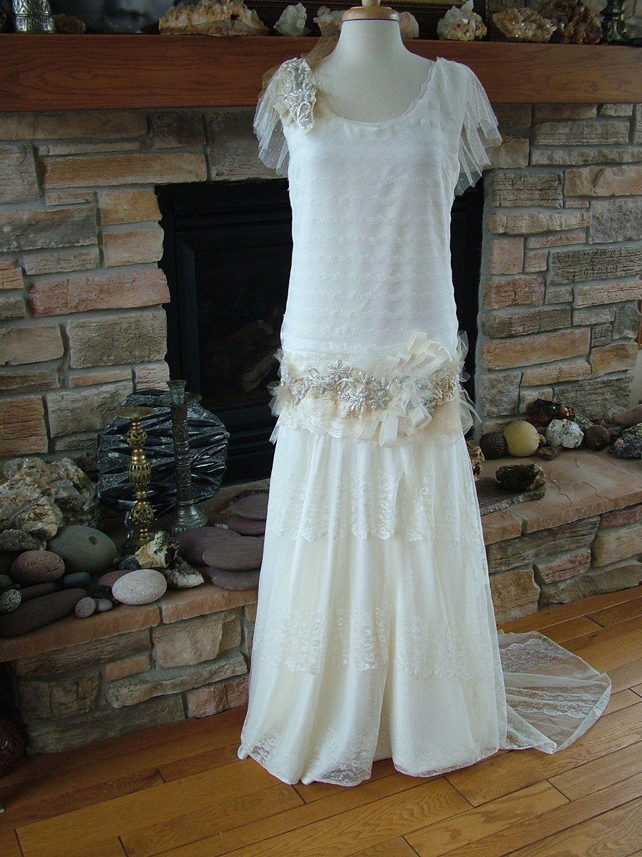 Original 1920s Inspired wedding dress Flapper gown Beaded antique ...