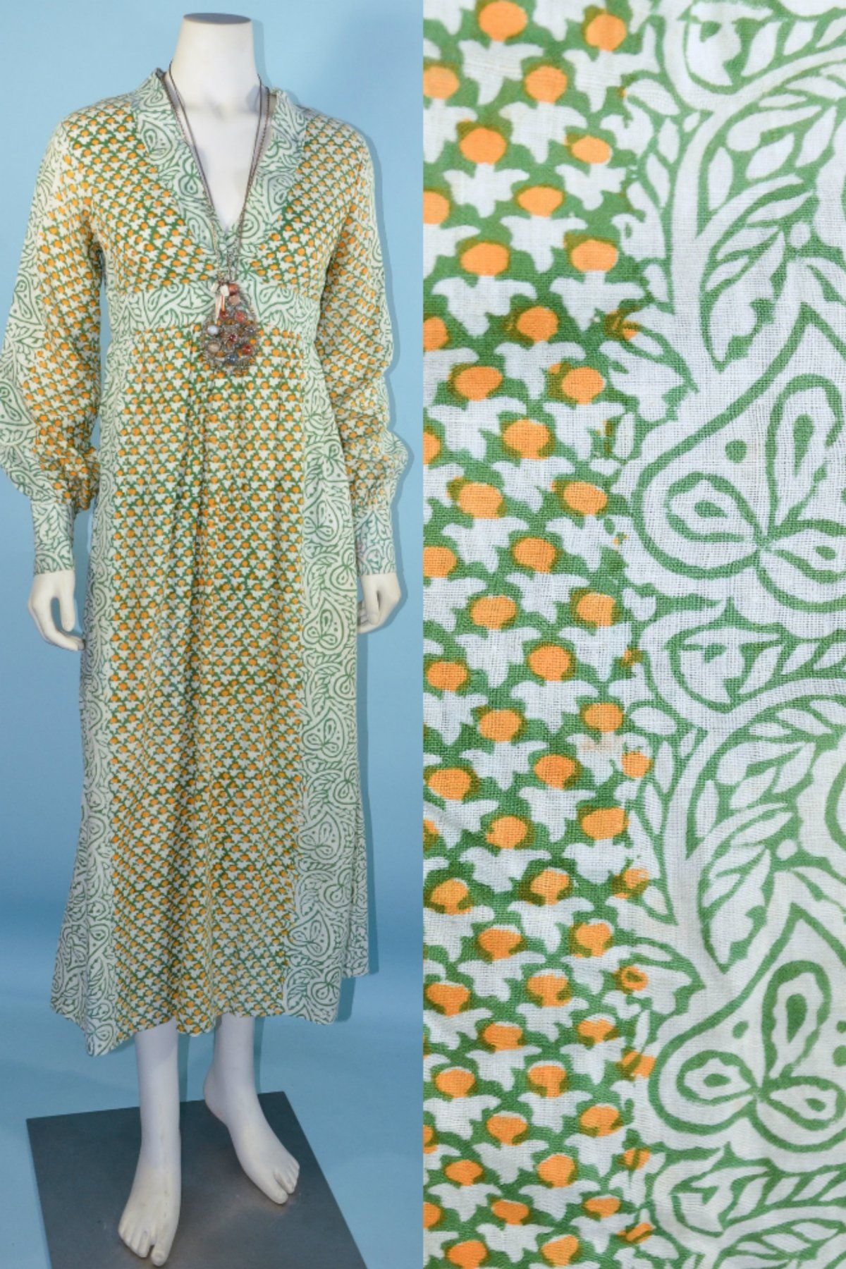 Vintage s indian block print long dress bohemian hippie festival
