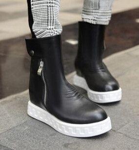 Women new fashion spring autumn hidden heels boots solid color side zipper shoes large plus size 40-43