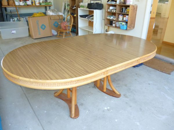 Vintage Rattan Dining Table With 8 Chairs Buffet And Side