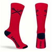 Lacrosse Sticks Crew Socks - Red