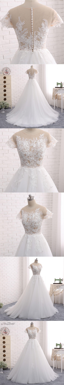New design long wedding dress scoop short sleeves court train