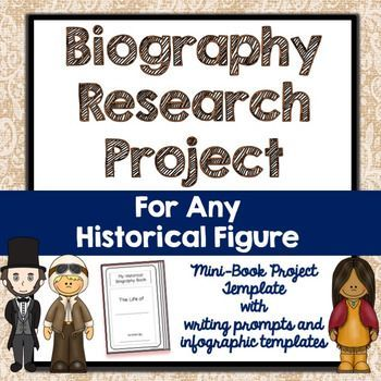 Use this biography research project over and over again to study any historical figure!  The print-and-go mini-book format is perfect for your unit on Women's History Month, Black History Month, President's Day, and more.  Each mini-book comes with a printable cover and is three pages, folded as a book.