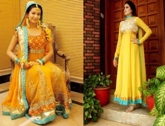 Mehndi Clothes For Brides : Latest pakistani beautiful bridal mehndi dresses