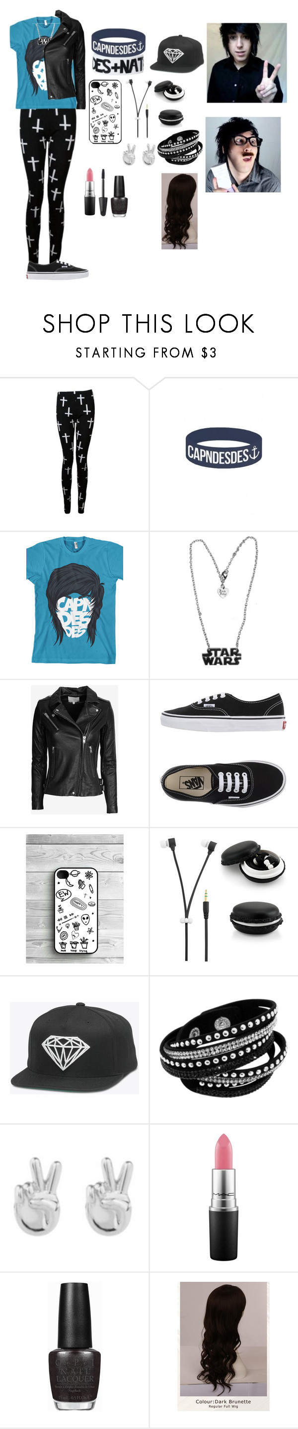 """""""Capndesdes fan"""" by gglloyd ❤ liked on Polyvore featuring IRO, Vans, Rock 'N Rose, MAC Cosmetics, Max Factor, OPI and WigYouUp"""