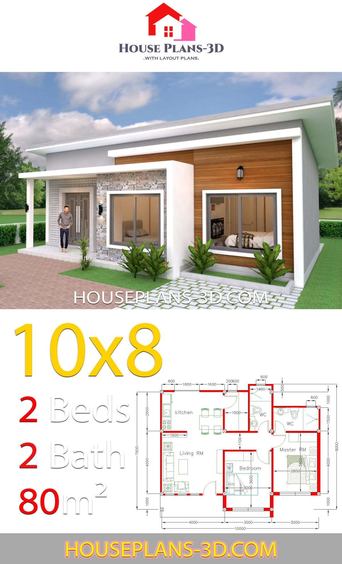 House Plans 10x8 With 2 Bedrooms Shed Roof House Plans 3d In 2020 House Plans House Roof Small House Design Plans