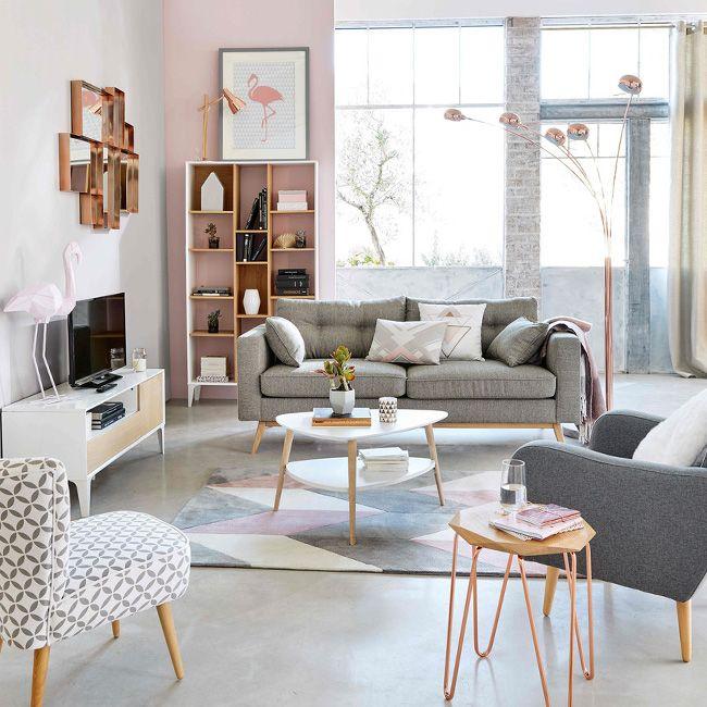 Une déco de salon en gris et rose poudré | Idee deco salon gris, Déco salon, Idée déco appartement