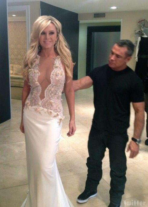 Designer Mark Zunino and Tamra Barney with her wedding dress | I Do ...