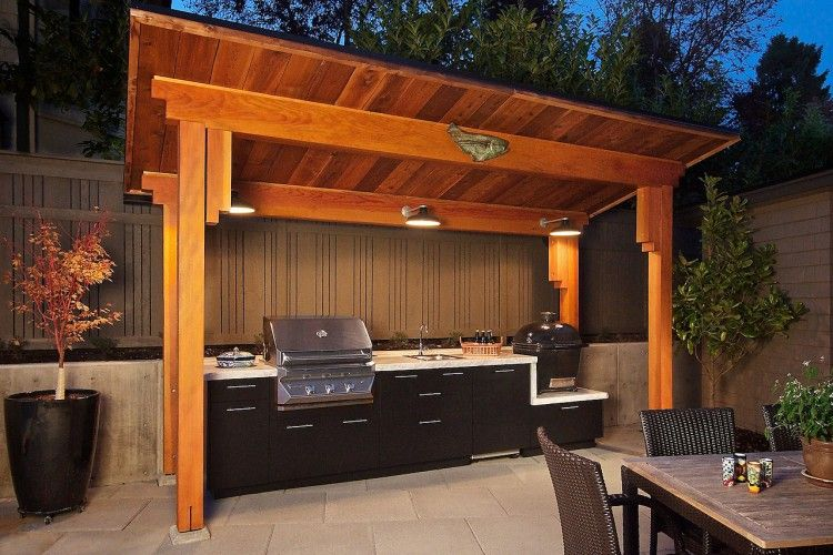 Outdoor Kitchen With Arbor