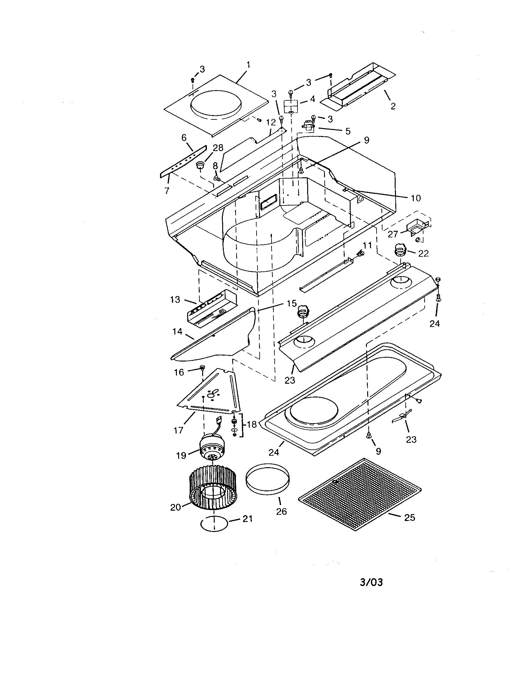 Range Hood Diagram  U0026 Parts List For Model 23355012000