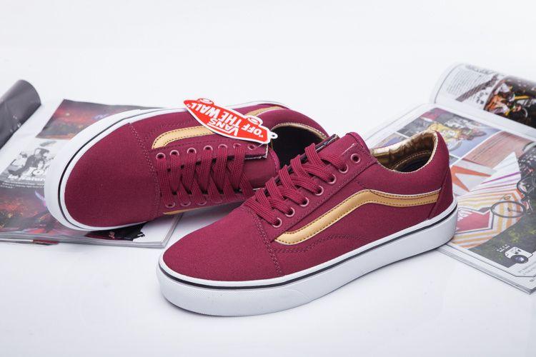 60c76cf81a VANS 50th Anniversary Golden Wine Red Low Men Women Shoes Old Skool  Vans