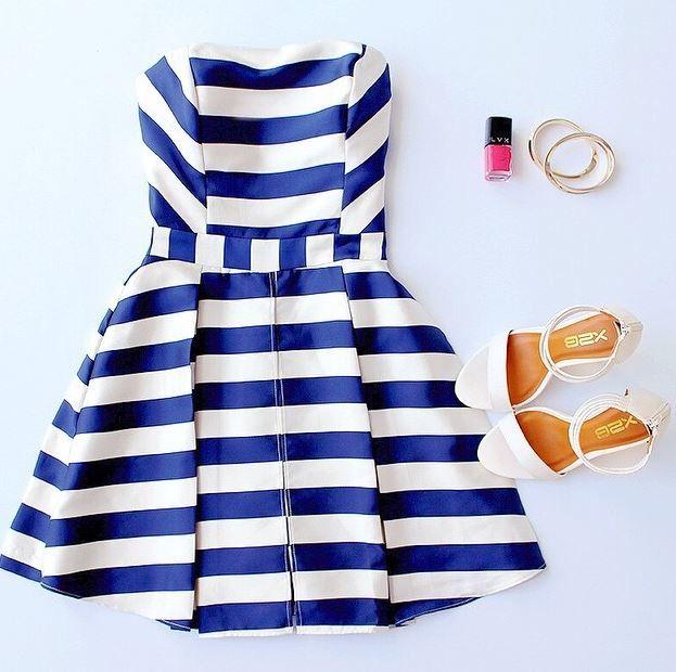 Sweet Like Honey Navy Blue Striped Strapless Romper