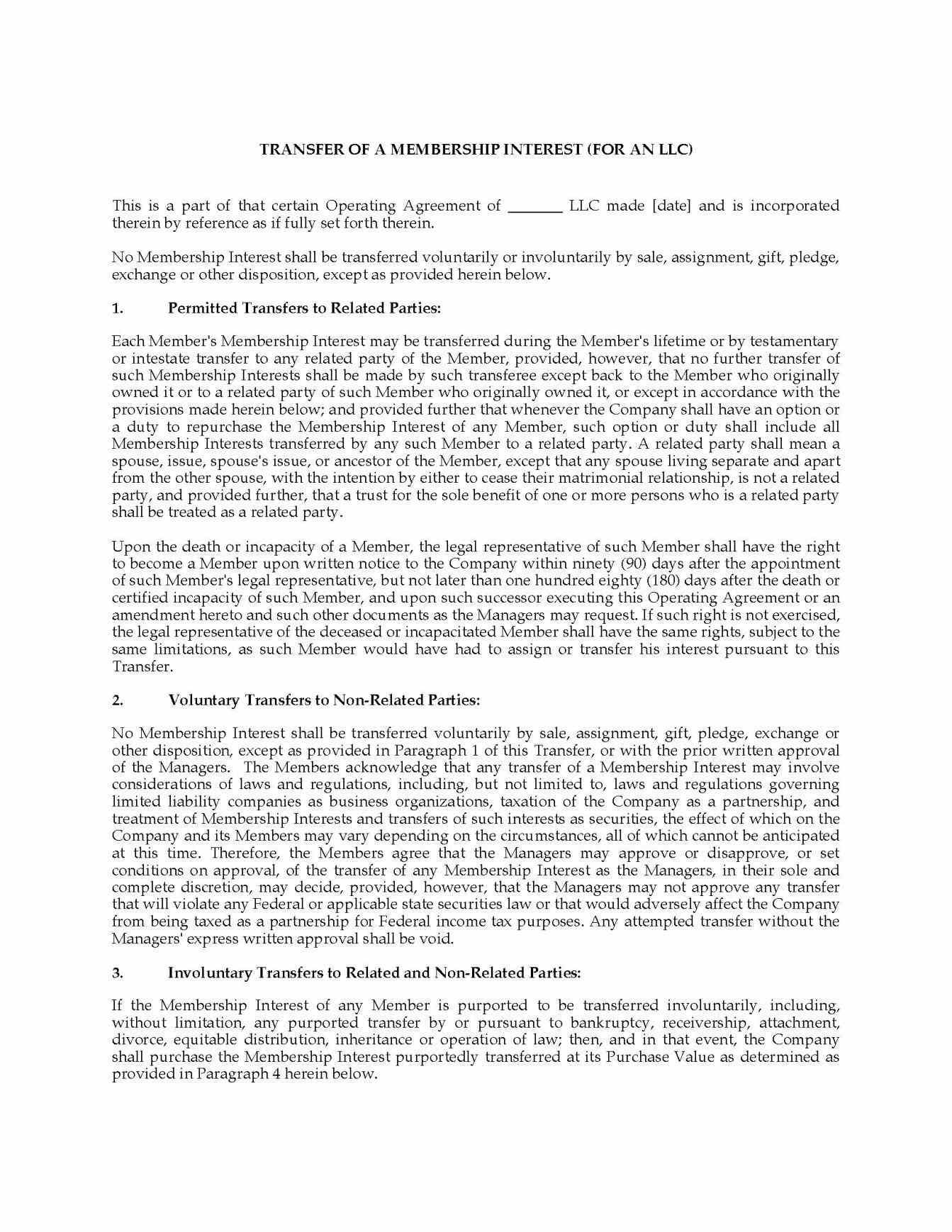 Operating Agreement Templates Sample Llc Operating Agreement By