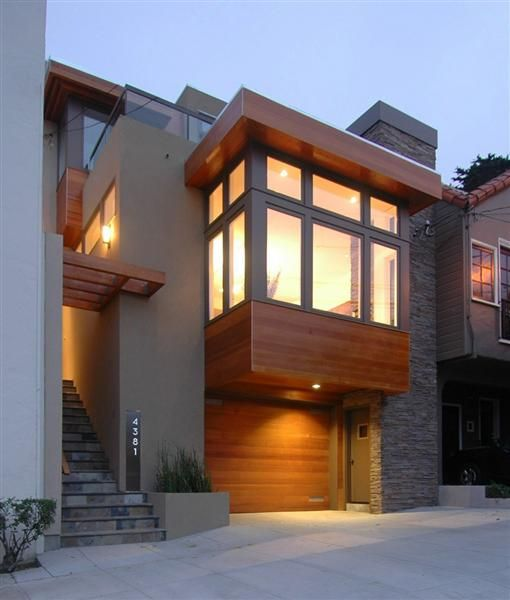 Modern Gray Exterior With Steel Beams: Stucco Homes, Painted Brick