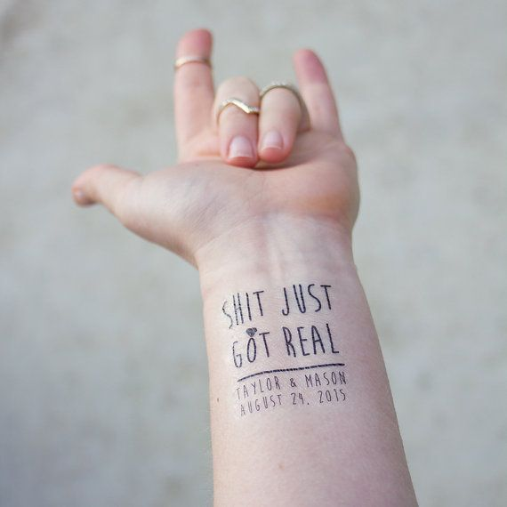 Just Got Real Temporary Tattoos Pack Of 15 Custom Tattoo Wedding Favors Cheeky Party