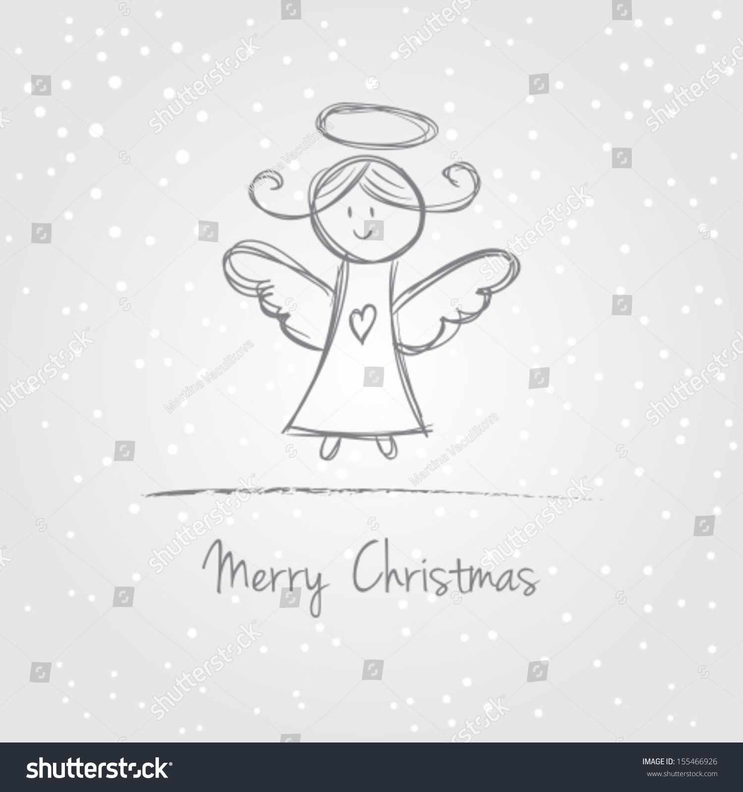 Photo of Illustration Christmas Angel Snow Doodle Style Stock Vector (Royalty Free) 155466926