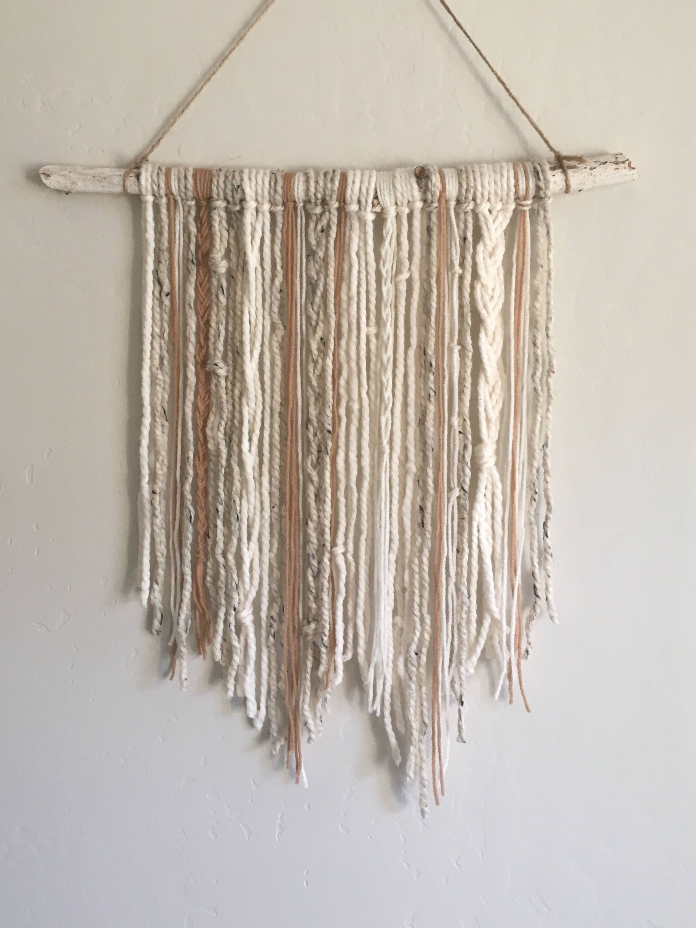 Yarn Tapestry, Wall Hanging Tapestry Neutral Decor Woodland Theme Boho