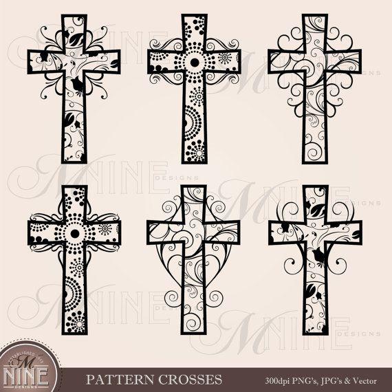 Pattern Crosses Clip Art Cross Clip Art Vector Art File Etsy In 2021 Clip Art Cross Drawing Cross Art