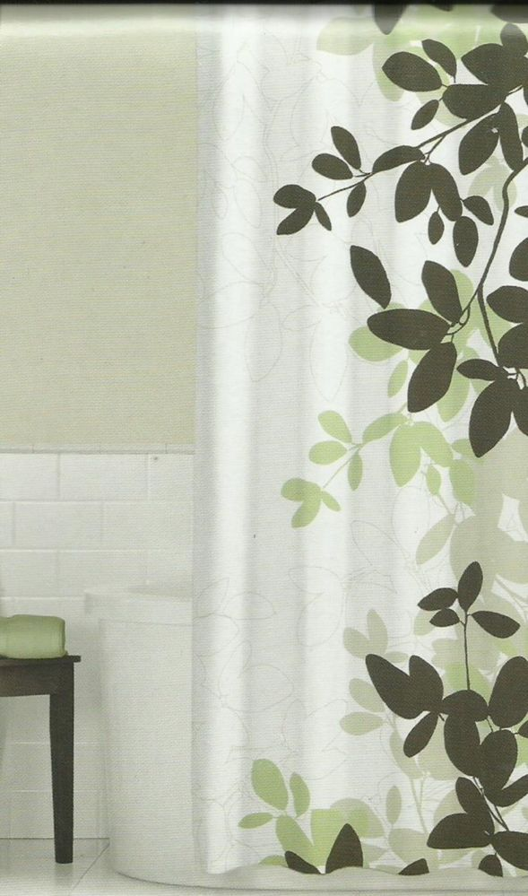Zen Floral Sage Green Brown Tan Ivory Quality Luxury Fabric Shower Curtain NEW Homeclassics